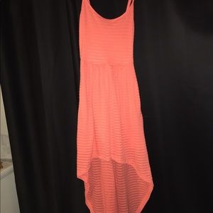 Salmons-orange ribbed high-low dress